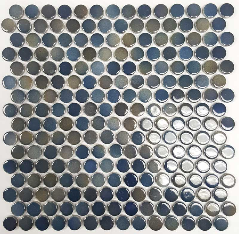 Mixed Blue Penny Round Mos