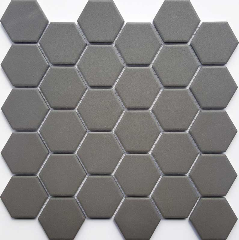 D GREY MATT HEXAGON MOS 50MM Floor and Wall Tiles | TileSpace